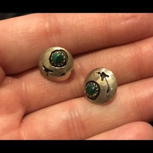 Green malachite and sterling post earrings